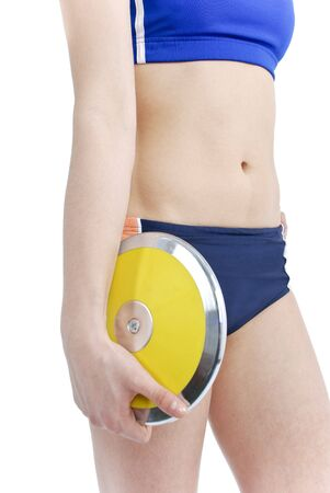 Female athlete holding a discus on a white background. photo