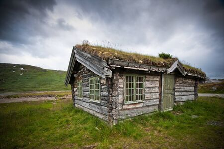 refuge: Old cabin in the mountains of Norway.