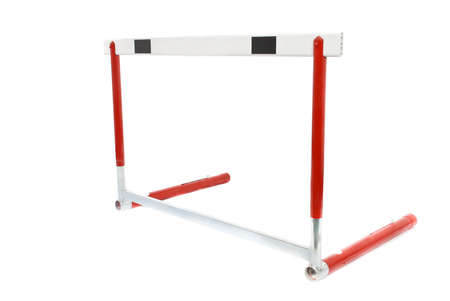 hurdle: A red athletics hurdle, isolated on a white background.