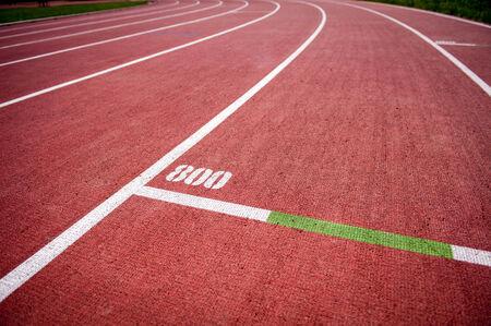 running track: Running track with 800m mark Stock Photo