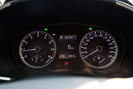 Modern korean car speedometer details. 版權商用圖片