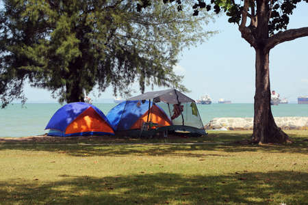 the east coast: camping at east coast singapore Stock Photo
