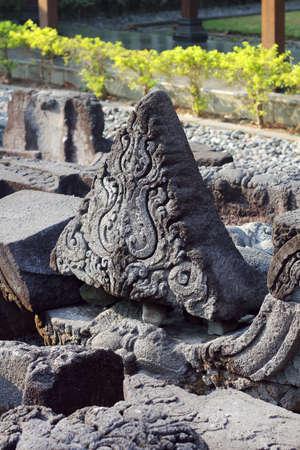 borobudur: bricks at Borobudur Stock Photo