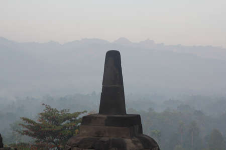 overlook: overlook at the top of Borobudur Stock Photo