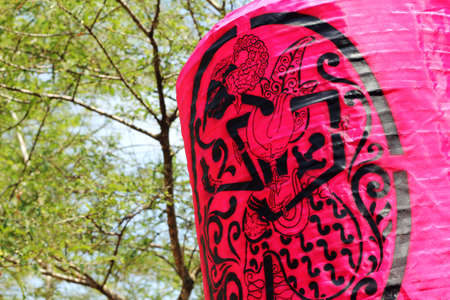 traditional pattern: pink lantern with indonesian traditional pattern