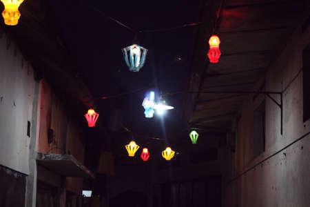 colorful lantern: colorful lantern at night lane Stock Photo