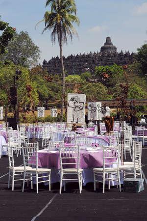 borobudur: wedding table set at borobudur