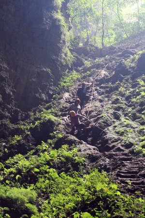 cave exploring: jomblang cave Stock Photo