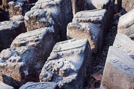 prambanan: broken stone brick at prambanan Stock Photo