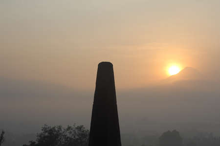 come on: sun come out from mount merapi Stock Photo