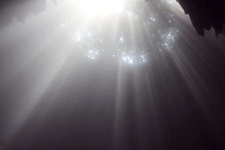 light  beam: magic light beam at Jomblang cave