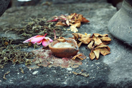 burnt out: fallen flowers, withered leaves and burnt out candle