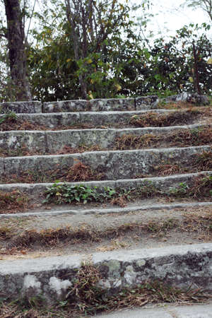 escalating: stairs towards mountain top