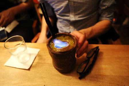 flaming: flaming cocktail