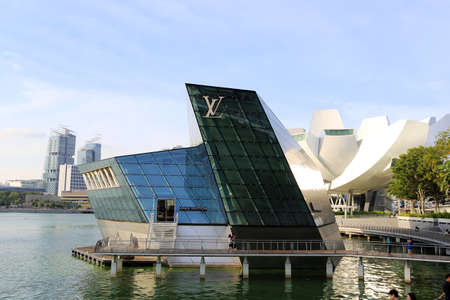 the iconic floating LV store at marina bay Editorial