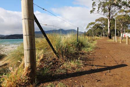 tasmania: fence at tasmania shore