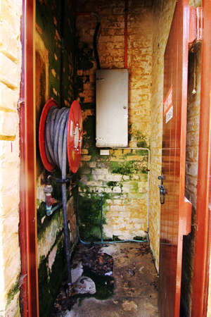 tap room: abandoned equipment room Stock Photo