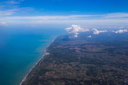 overlook of West Sumatra on an airplane in Indonesia Standard-Bild