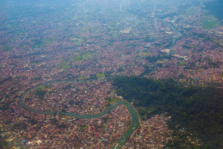 overlook of Padang city from airplane