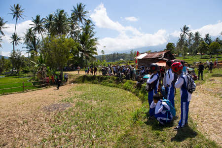 Crowd with cameras in a rural area Editorial