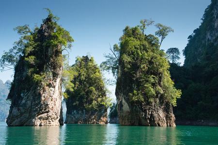 thani: Beautiful mountains lake river sky Ratchaprapha Dam at Khao Sok National Park, Surat Thani Province, Thailand.