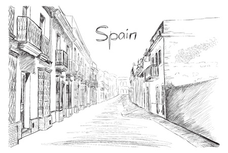 houses street: Spain town, vector illustration sketch
