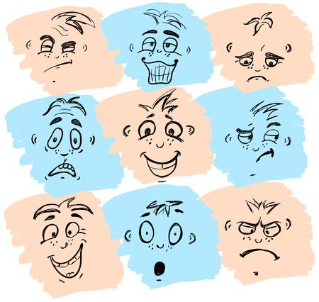 cara sonriente: Dibujado a mano emoticones o smileys cada uno con una expresión facial diferente y emoción, esquema esbozado en blanco