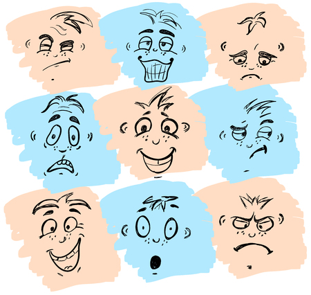 Hand drawn emoticons or smileys each with a different facial expression and emotion, sketched outline on white