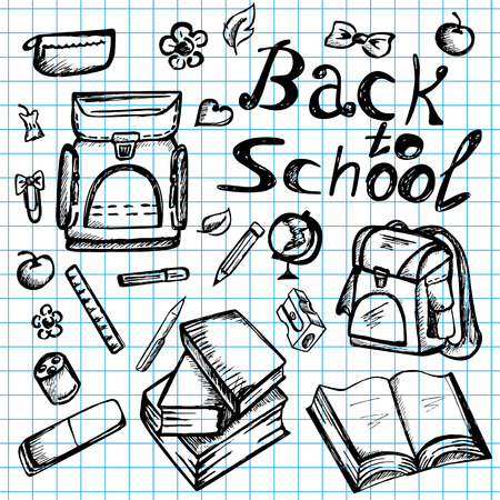 utiles escolares: Regreso a la escuela port�til incompletos garabatos con los libros, mochila, y papeler�a - dibujados a mano ilustraci�n vectorial Vectores