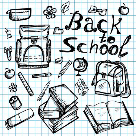 fournitures scolaires: Retour aux fournitures scolaires sommaires griffonnages d'ordinateurs portables avec des livres, sac � dos, et de la papeterie - Hand-Drawn Vector Illustration