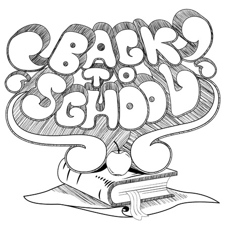 middle school: Hand drawn Back to school text, apple, book and paper Illustration
