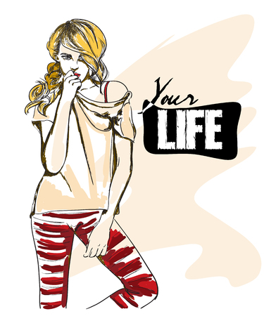 life style: Fashion vector illustration of style blond girl and her life Illustration