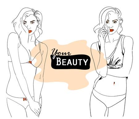lenceria: Vector ilustración de moda de mujer de belleza, dos hermosas mujeres en ropa interior con pomada roja Vectores