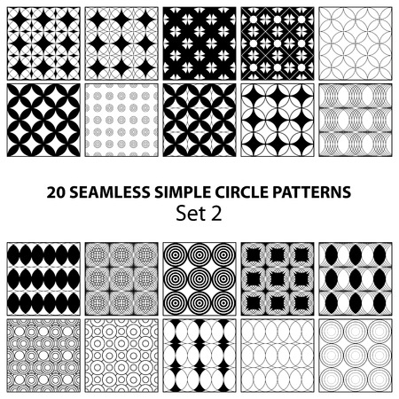 adore: Set of 20 seamless simple circle black patterns on transparent background