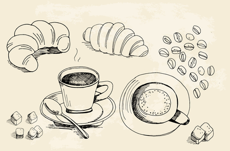 croissants: Set of doodles, hand drawn rough simple coffee theme sketches, various kinds of coffee, ingredients and croissants on beige background