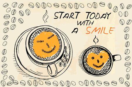 """good break: Tazas de caf� con espuma en forma de cara sonriente con el texto del t�tulo """"Empieza hoy con una sonrisa"""" y los granos de caf� Vectores"""