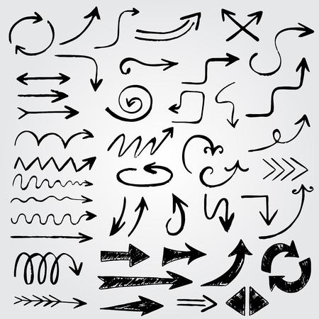 Lado divertido de la vendimia dibuja flechas hechos en vector. Elementos hermosos del doodle para su diseño sobre fondo gris degradado Vectores