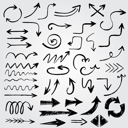 Funny vintage hand drawn arrows made in vector. Beautiful doodle elements for your design on gray gradient background Illustration