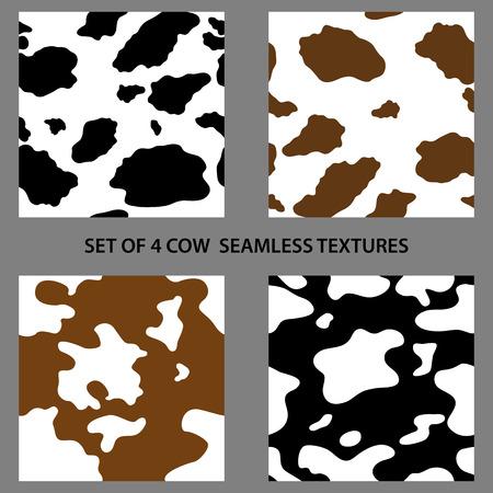 vaca: Conjunto de cuatro vaca texturas sin fisuras, muestras de motivos hechos con colores naturales de la vaca