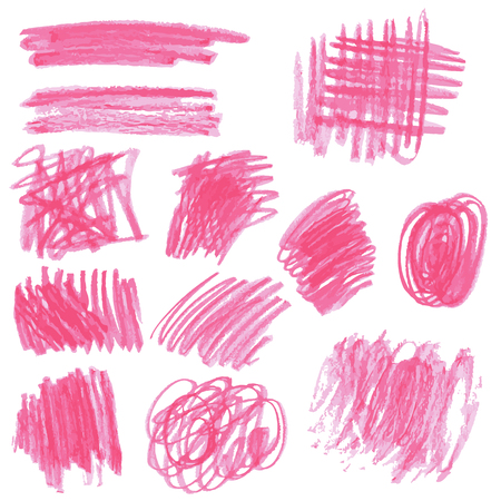 pencil symbol: Hand drawing sketches, strokes of pink colored pencils