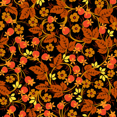 khokhloma: The traditional Russian floral seamless pattern on black background, ornament in Khokhloma style Illustration