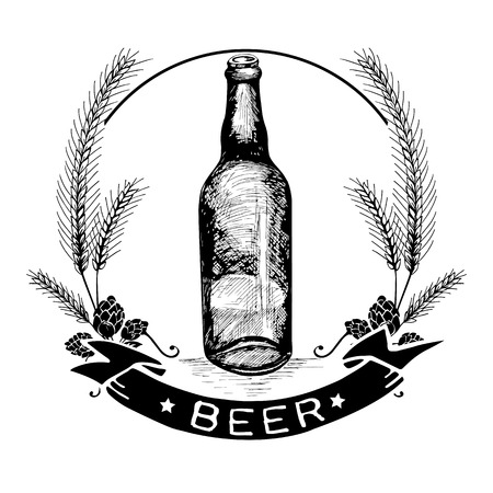 malt: Hand drawn beer bottle label, malt and badge with text Beer in black color on white background