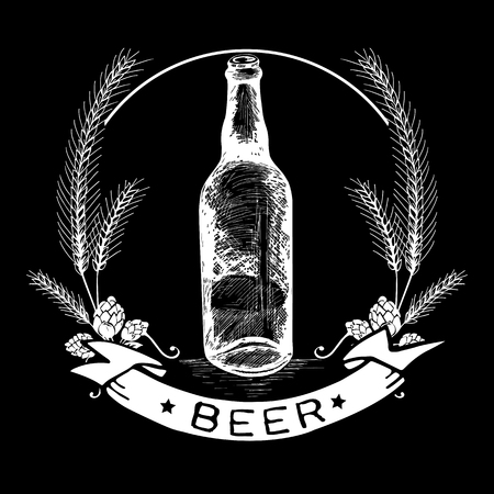 malt: Hand drawn beer bottle label, malt and badge with text Beer in white color on black background