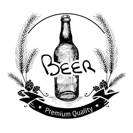 malt: Hand drawn beer bottle label, malt and badge with texts Premium quality and Beer in black color on white background