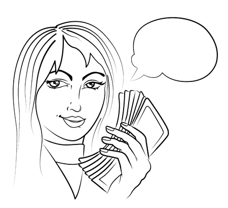 woman holding money: Beautiful young woman holding a money with speech bubble