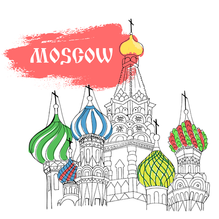 red square moscow: Moscow, Red Square, cathedral in sketch style with red title Moscow and colorful domes
