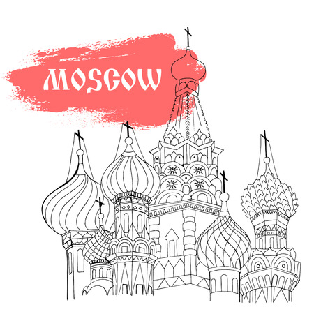 vasily: Moscow, Red Square, cathedral in monochrome sketch style with red title Moscow Illustration