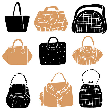 handbag model: Set of hand drawn fashion woman bags collection in urban black and beige colors