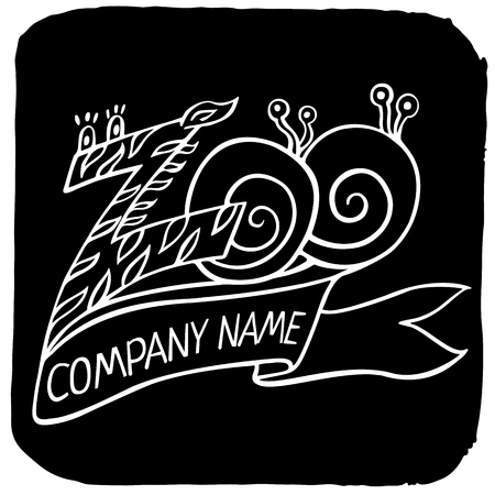 zebra head: Zoo white logo or label in zebra pattern and snails with ribbon, title Company name icon isolated on black background square for your business