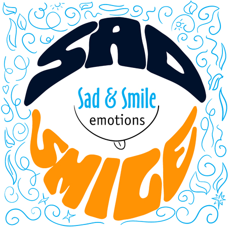 title emotions: Hand drawn typography poster design with emotions silhouette and labels Sad and smile, dark cyan and orange letterings on blue sketch background with title